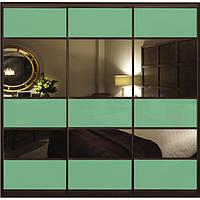 Шкаф-купе с комбинированными фасадами Цветные стекла/Тонированные зеркала трехдверный Классик