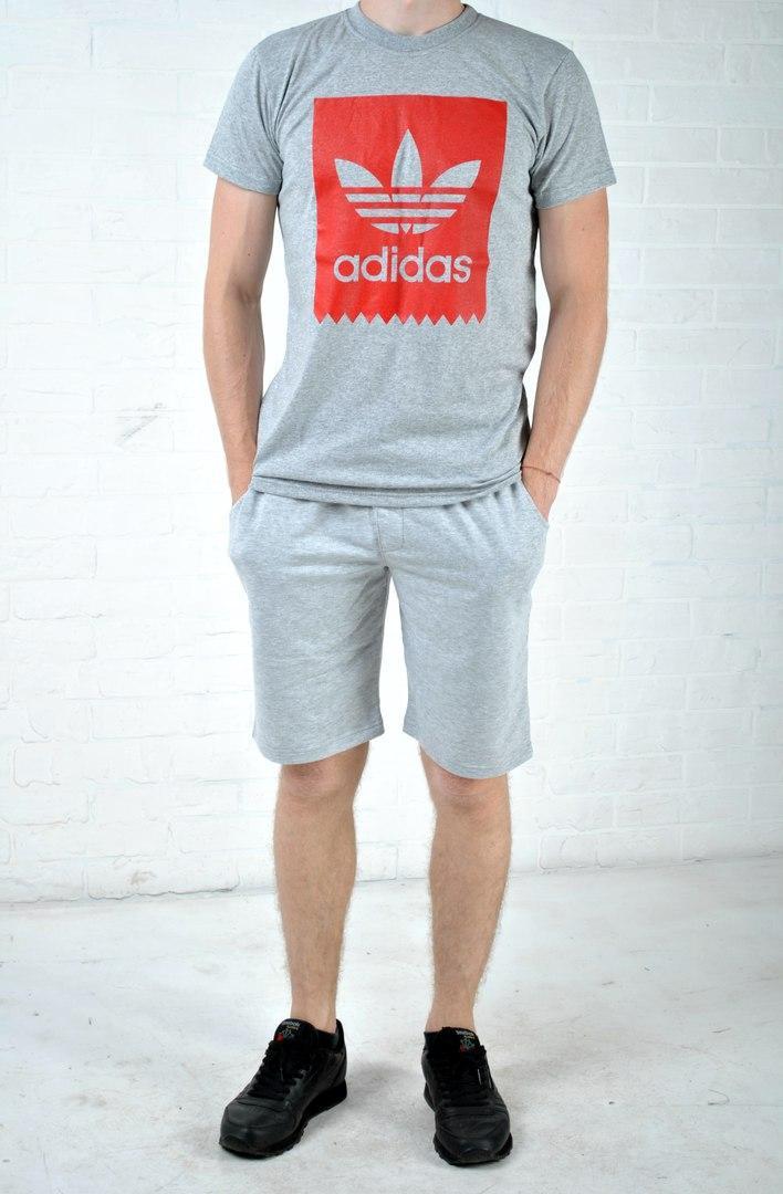 ac6f9278 Мужской комлект адидас (Adidas), серые шорты и футболка реплика -