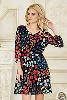 Платье Красно-синие цветы [Размер:: xl (50)]