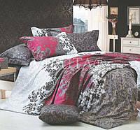 Модное постельное белье из бязи в бордовых и серых оттенках