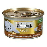 Консервы для котов Gourmet Gold (Гурмет Голд) кусочки в паштете с уткой, морковью и шпинатом 85 гр