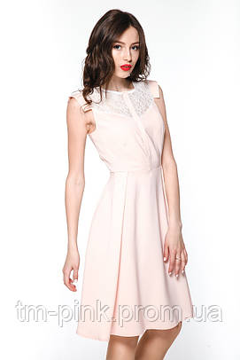 """Сукня персик гіпюрна кокетка """"Олівія"""""""