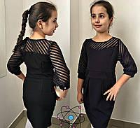 Красивое школьное платье для девочки т.синее