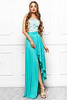 Сногсшибательное Вечернее Платье с Разрезом Бирюзовое