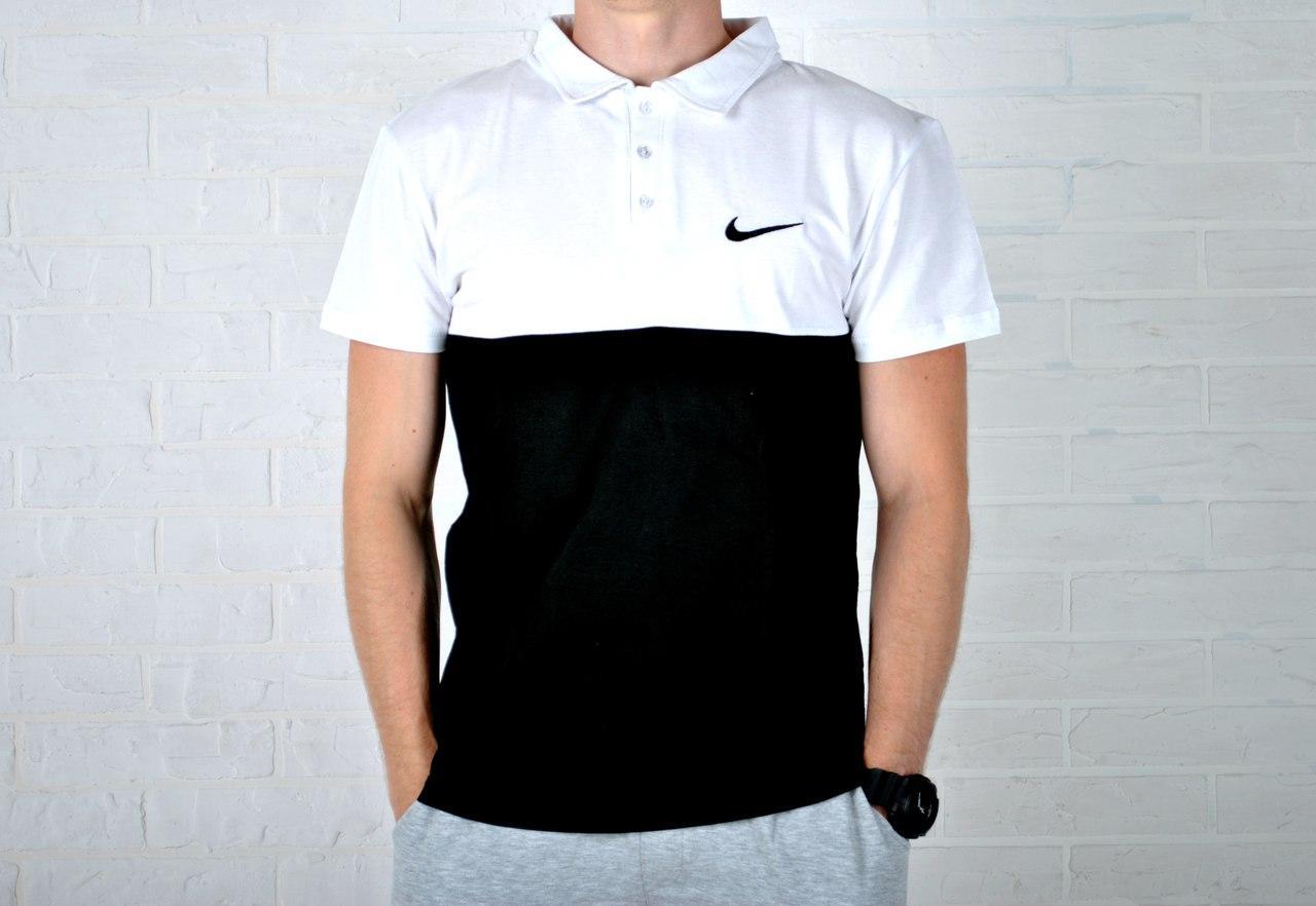 d02874bf25677 Мужская двухцветная футболка поло найк (Nike), черно-белая реплика -