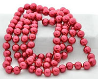 СП 2975-6 Бусы жемчуг крупный красный, длина вдвое 74см
