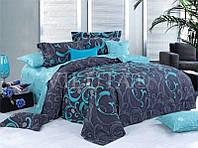 Комплект постельного белья бирюзово-серого цвета