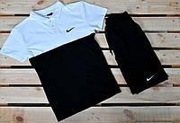 Мужская черно-белая футболка поло найк (Nike)
