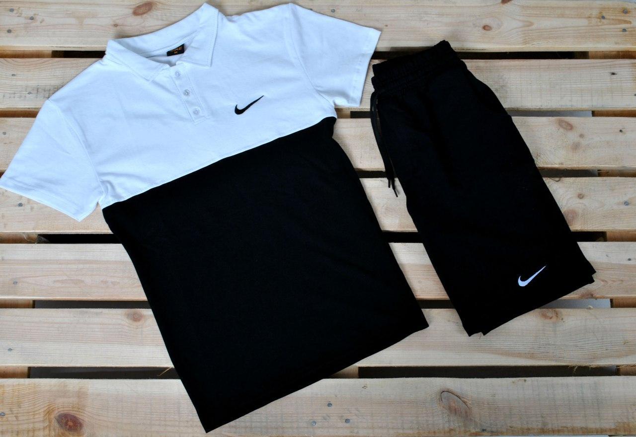 8cdbebb0d5930 Мужская черно-белая футболка поло найк (Nike) реплика, цена 285 грн ...