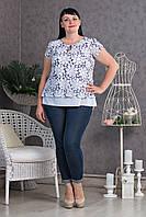 Летняя блуза большего размера с ромашками размер: 52,54,56