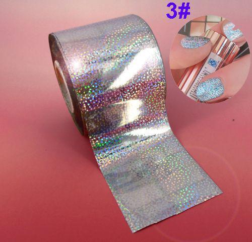 Фольга для ногтей 1 метр серебро гладкое и с рисунком
