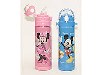 Детский стильный термос T109 500 мл с трубочкой Микки Маус и Минни Маус, маленький термос для питья