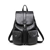Рюкзак женский с накладными карманами (черный)