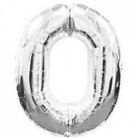 """Надувная фольгированная цифра """"0"""" серебро 65 см."""