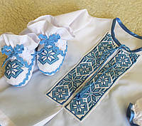 """Вишитий хрестильний набір для хлопчика  """"Зорі"""" з блакитною вишивкою, фото 1"""