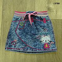 """Джинсовая юбка """"Котик"""" для девочки. Маломерит. 4 лет"""