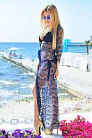 Пляжная гипюровая длинная туника, фото 1