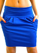 Синяя офисная юбка с карманами