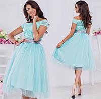 Молодежный, вечерний костюм, состоит из фатиновой юбки в 2-х расцветках и гипюрового топа в 8-ми расцветках.