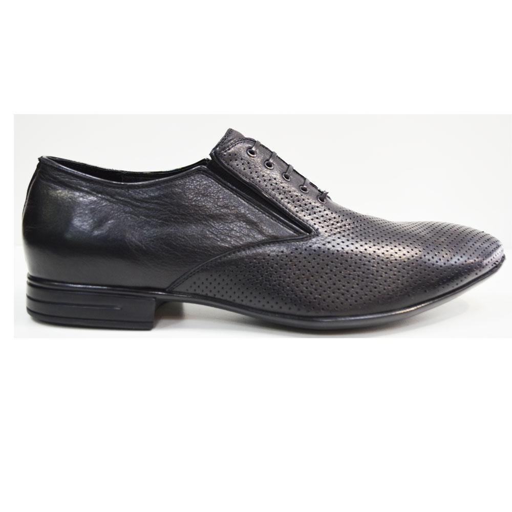 Летние туфли мужские классические из натуральной кожи черные