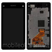 Дисплей (экран) для Sony D5503 Xperia Z1 Compact Mini + с сенсором (тачскрином) и рамкой черный Оригинал