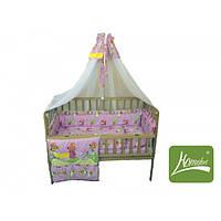 """Комплект в кроватку """"Сказочная колыбельная"""", бязь, розовый, в сумке 65*45см, ТМ Homefort(2050046)"""
