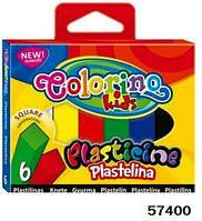 Пластилин квадратный, 6 цветов, в кор.11*9см ТМ Colorino(57400)
