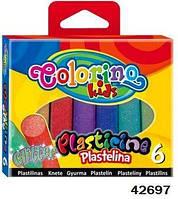 Пластилин с блестками, 6 цветов, ТМ Colorino(42697)