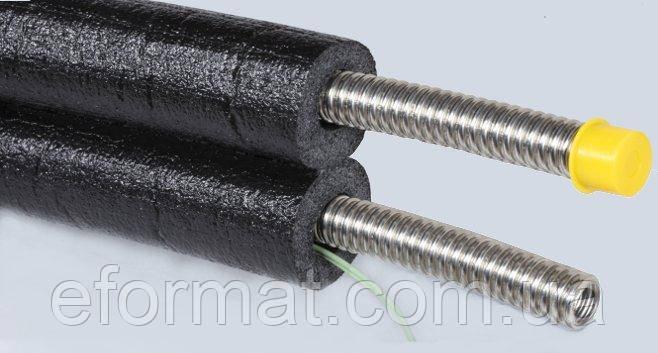 Двойная гофрированная труба DN25 с кабелем, каучуковая изоляция 19 мм