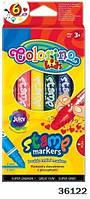 Маркеры со штампом, двухсторонние, 6 цветов, ТМ Colorino(36122)