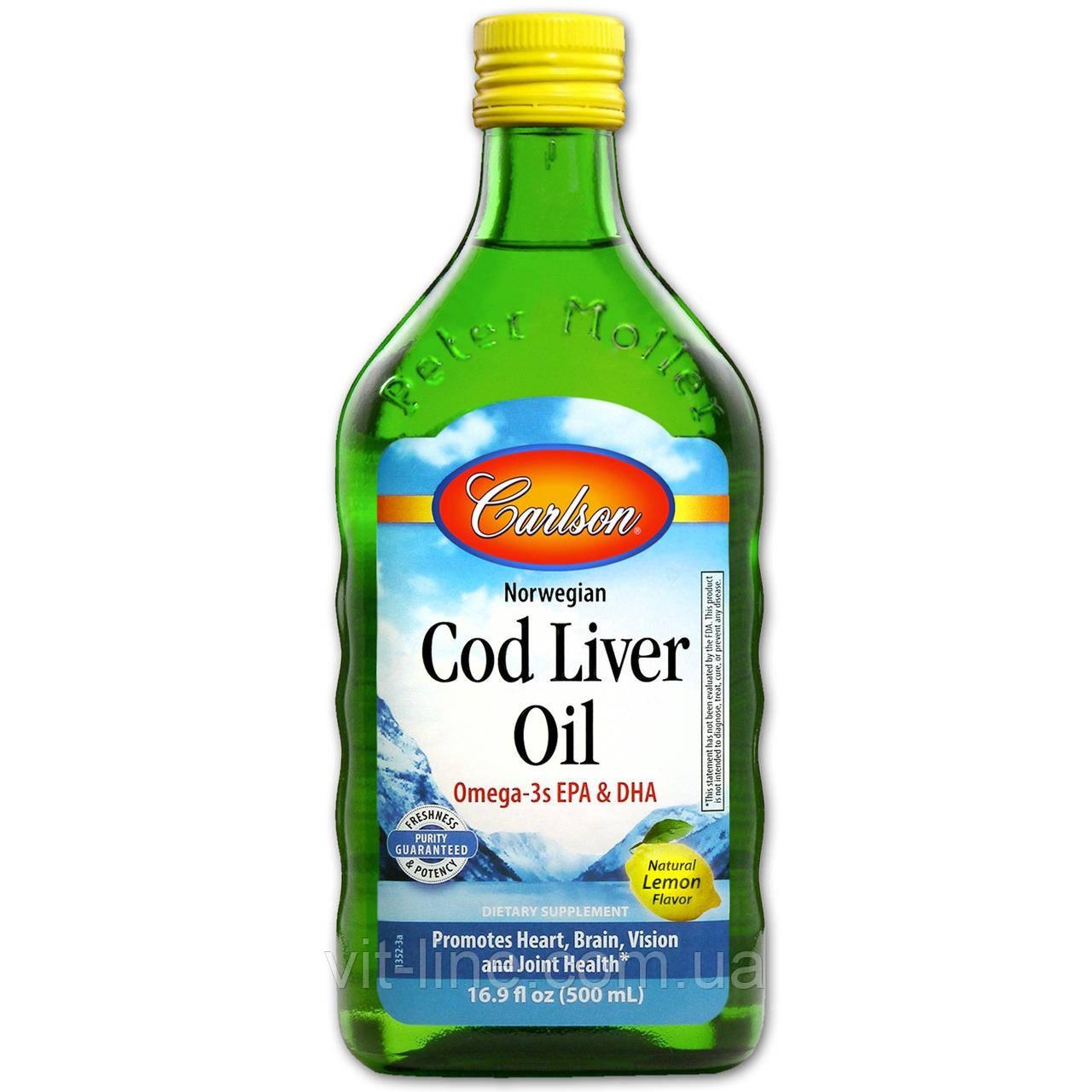 Carlson Labs, Жир печінки дикої норвезької тріски, зі смаком лимона, (500 мл)