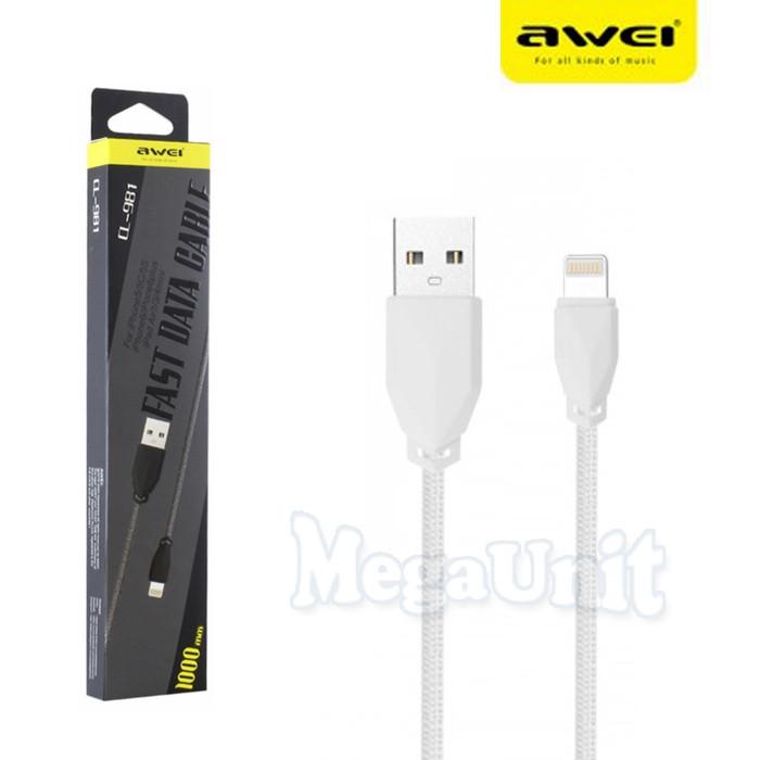 AWEI CL-981 USB кабель Lightning для iPhone 5/6/7/8/X с тканевой оплеткой 100см