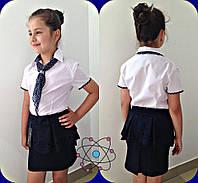Белая блузка рубашка для девочки, 122 - 140, школа. Школьная блуза с галстуком.