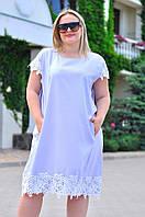 Льняное платье с отделкой кружевом 9071 батал (ВИВ)