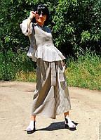 Женский летний льняной деловой костюм из натурального льна