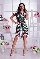 Платье свободного кроя с принтом-полоска/цветы.
