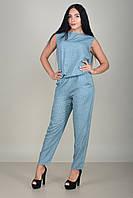 Женский легкий  комбинезон с брюками  с геометрическим узором без рукава