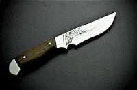 Охотничий нож Спутник 13, классическая модель, кожаные ножны, твердость клинка 50-55 HRC