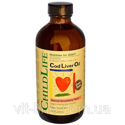 ChildLife, Масло печени трески, природный вкус клубники (237 мл), фото 2