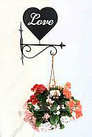 Настенная подставка для подвесного цветка Сердце С-5