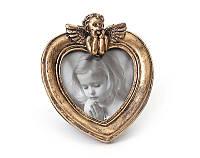 Рамка в форме сердца с ангелом состаренная бронза