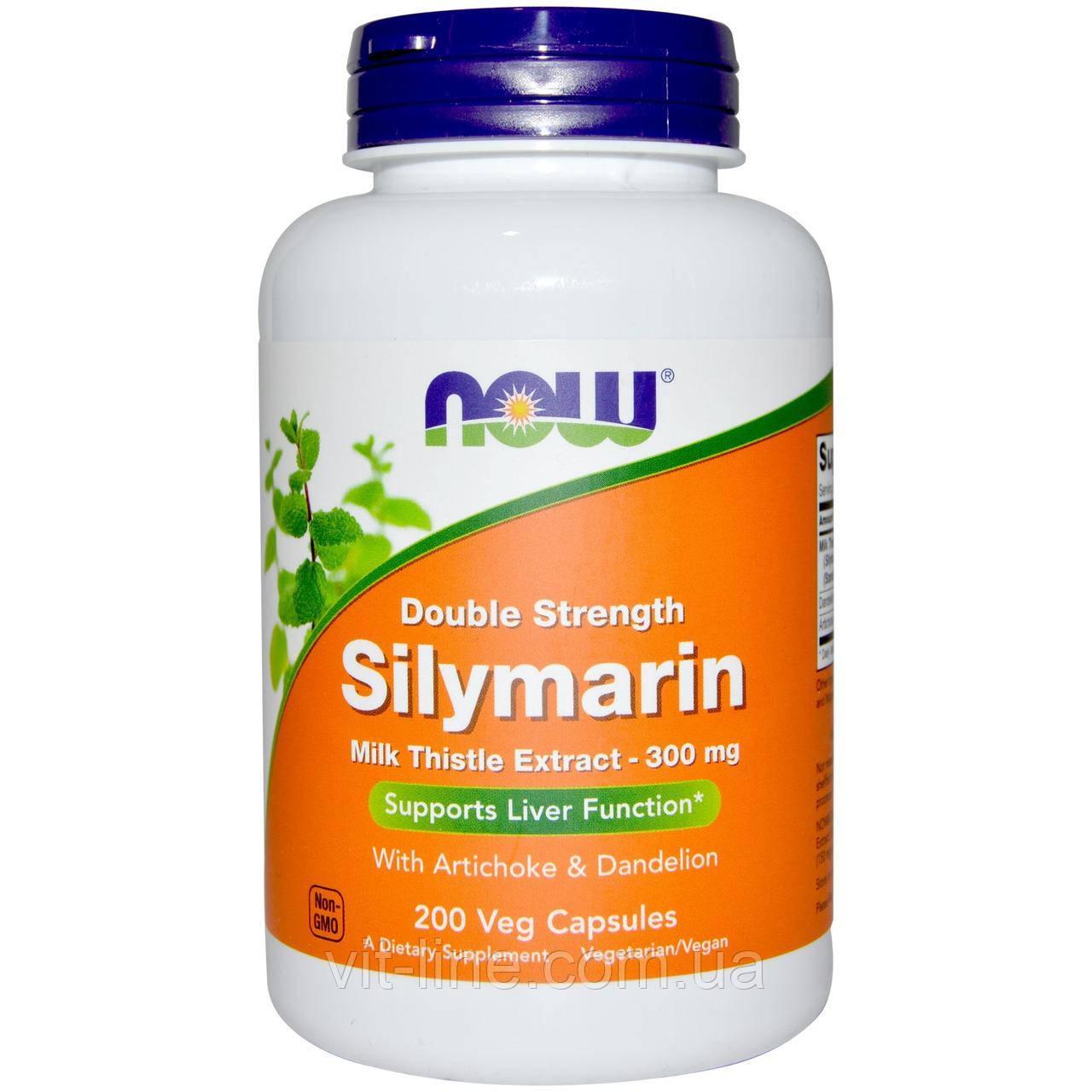 Now Foods, Силимарин двойной силы, 300 мг, 200 капсул в растительной оболочке
