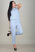 Легкий женский летний голубой брючный комбинезон без рукава