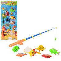 Игра рыбалка M 0039 U/R удочка с магнитом, сачок, 2вида (1в-6рыбок,2в-8морск.обит), на листе, 24-58-5см