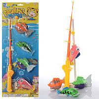 Игра рыбалка M 2485, удочка с магнитом, 39см, 4 рыбки, на листе, 19,5-50,5-5см
