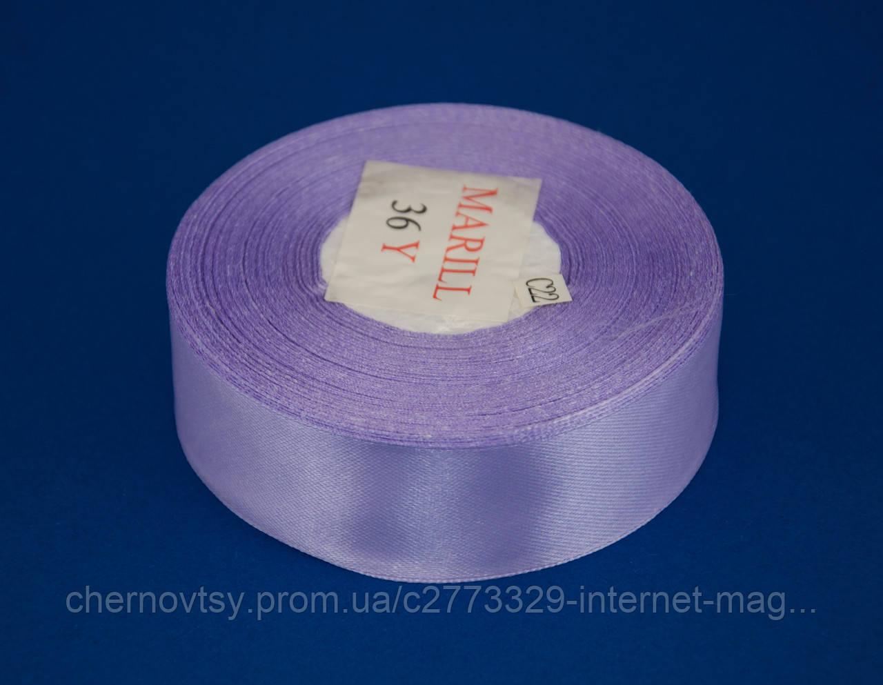 Лента атлас 4 см, 33 м, № 21 светло сиреневая