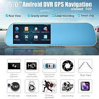 """Автомобильный видеорегистратор зеркало D22  5"""" сенсор, 2 камеры, GPS навигатор, WiFI, 8Gb, Android"""