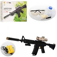 Детский игрушечный автомат G960A, 78см, аккум, водяные пули, лазер, свет, USB зарядн, очки, в кор-ке,