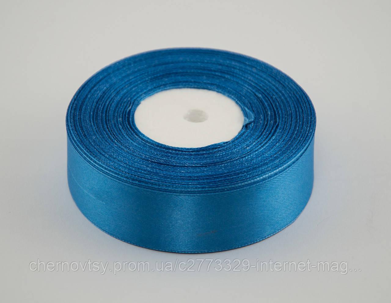 Лента атлас 4 см, 33 м, № 36 ярко голубая