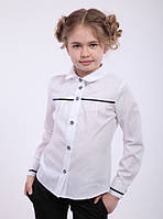 Блуза школьная для девочки натуральный хлопок Размеры 122- 152 Аурика Синий кант
